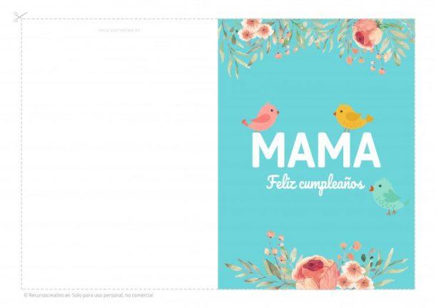 tarjeta imprimible feliz cumpleaños mama